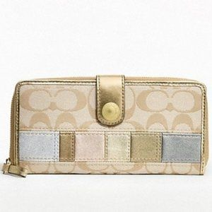 Coach patchwork leather & canvas wallet, Authentic